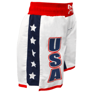 Women's White USA Fight Shorts - Embroidered with Sub side panels