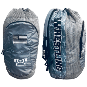 USA Grey Camo Embroidered Gear Bag With Water Bottle Pouch