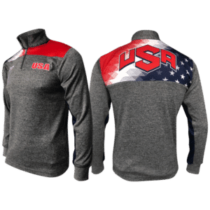USA Freedom Quarter Zip - Heathered Box Stripe