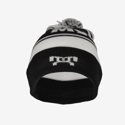 Black and white striped pompom hat F