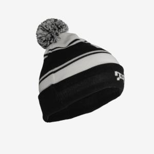 Black and white striped pom pom hat L