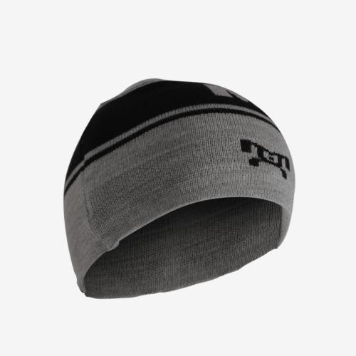 Grey and Black Knit Beanie L