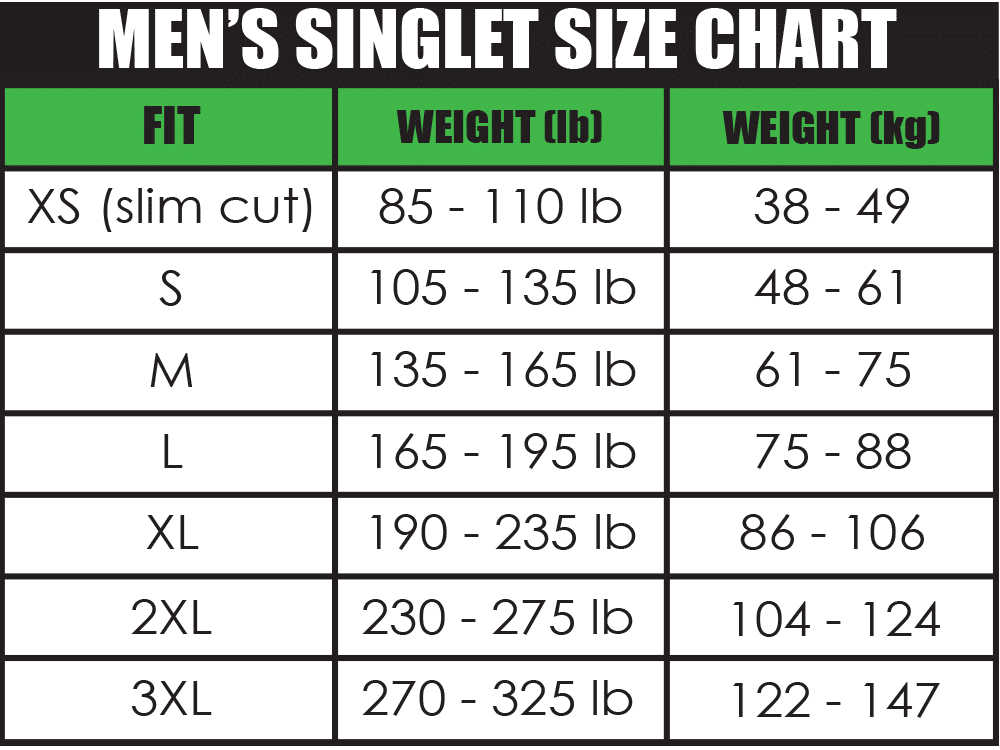 Mens singlet size chart