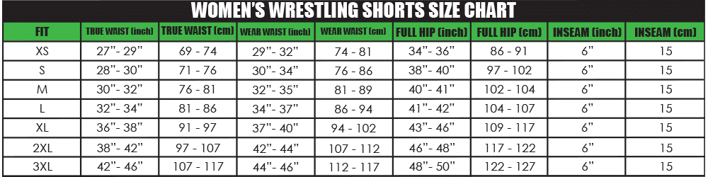 Womens Wreslting shorts Size chart