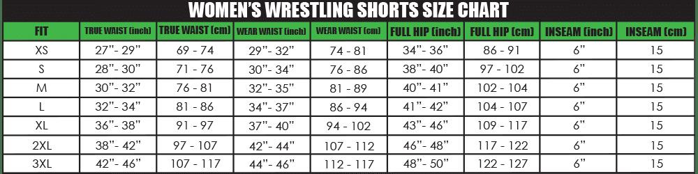 Womens Wreslting shorts Size chart