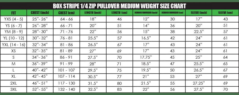 box stripe 1_4 zip pullover medium weight size chart
