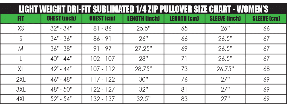 light weight dri-fit sublimated 1_4 pullover size chart - women's