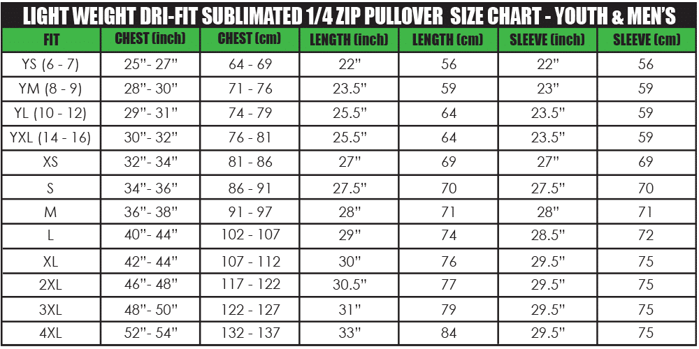 light weight dri-fit sublimated 1_4 zip pullover size chart - youth & men's