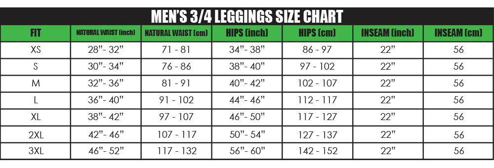mens 3_4 leggings size chart