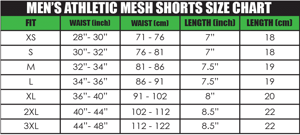 mens athletic mesh shorts size chart