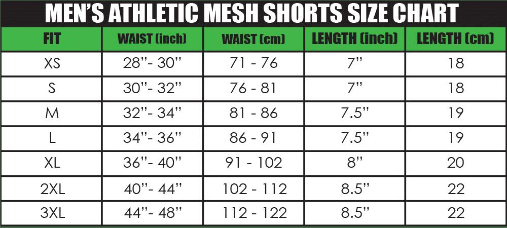 mens athletic mesh shorts size chart