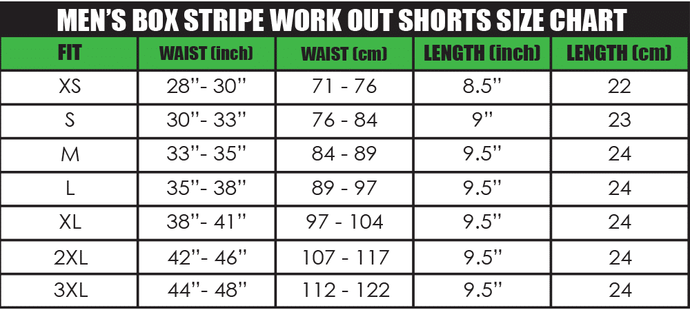 mens box stripe work out shorts size chart