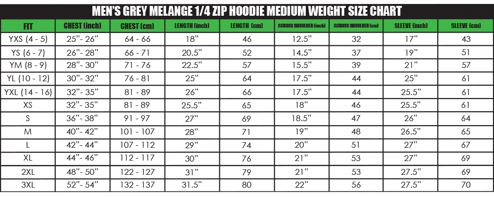 mens grey melange 1_4 zip hoodie medium weight size chart