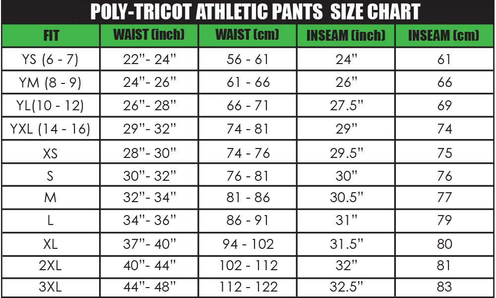 poly-tricot athletic pants size chart