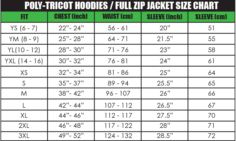 poly-tricot-hoodies _ full zip jacket size chart