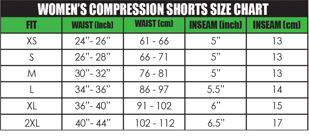 womens compression shorts size chart