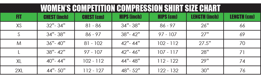 womens copetition compression shirt size chart