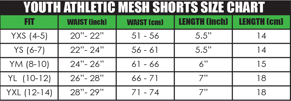 youth athletic mesh shorts size chart