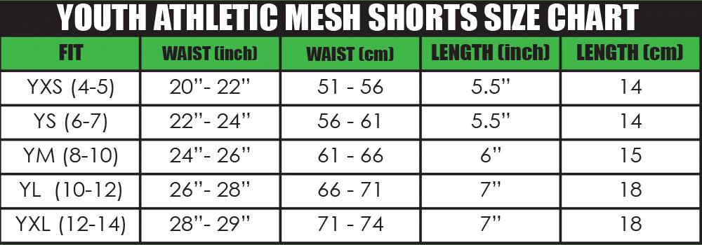 youth athletic mesh shorts size chart