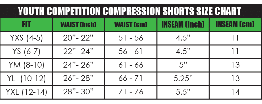 youth competition compression shorts size chart