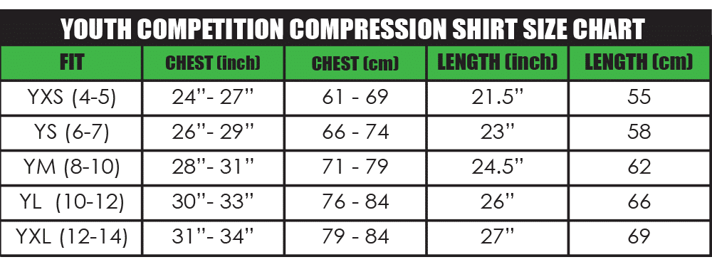 youth competiton compression shirt size chart