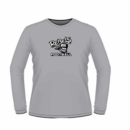Rebels Football Custom Grey Long Sleeve T-Shirt