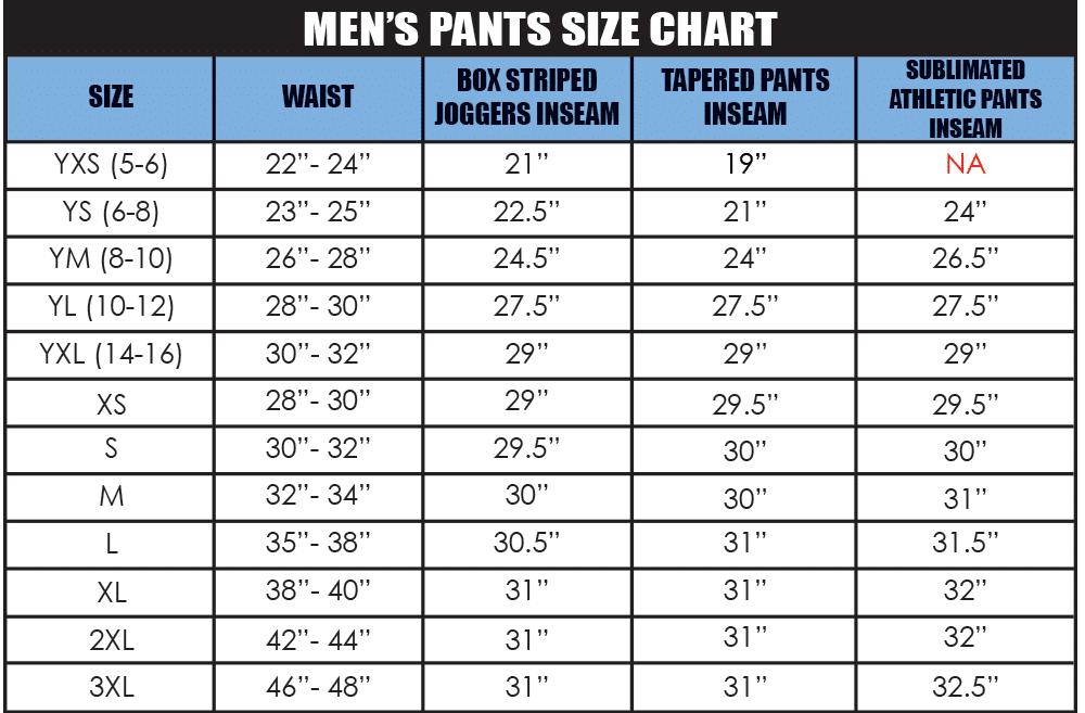 Men's Pants Size Chart