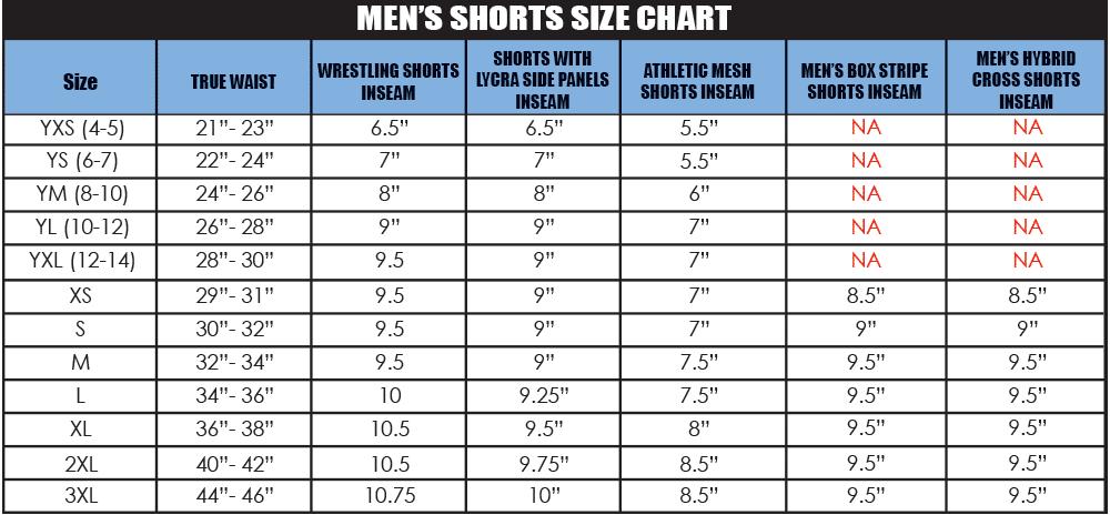 Men's Shorts size chart