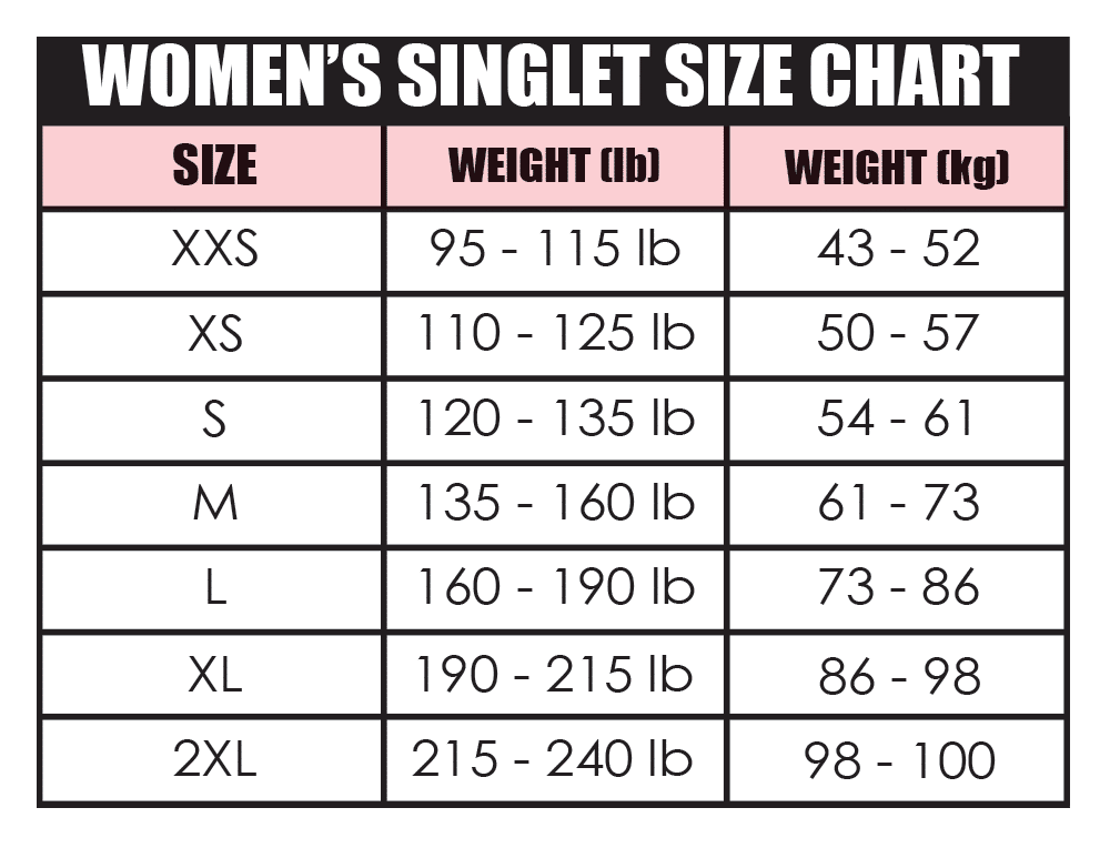 Womens Singlet Size Chart