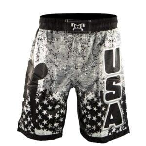 USA Black And White Wrestling Pride Fight Shorts